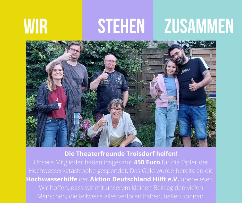 Die Theaterfreunde Troisdorf spenden für die Opfer der Hochwasserkatastrophe